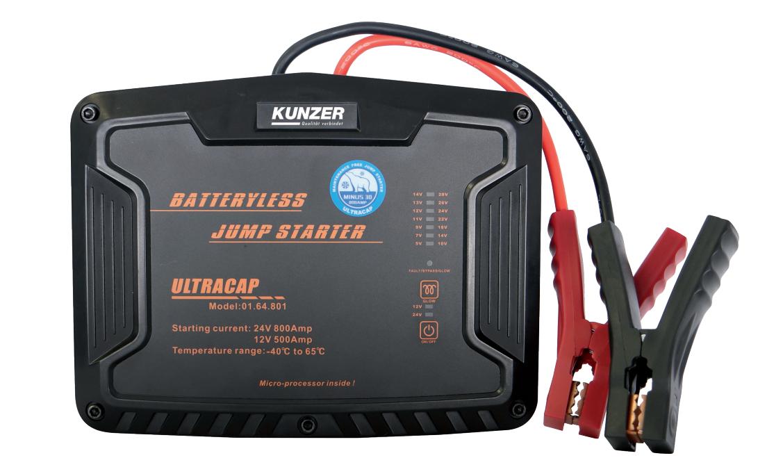 Wartungsfreie Starthilfe für 12 + 24 Volt mit Ultrakondensatortechnik  Neues Unbenutztes Gerät Mikroprozessorgesteuerte Ultra-Kondensatoren laden sich sofort aus der Restenergie der schwachen Batterie auf. Die Ultrakondensatoren speichern die Energie und